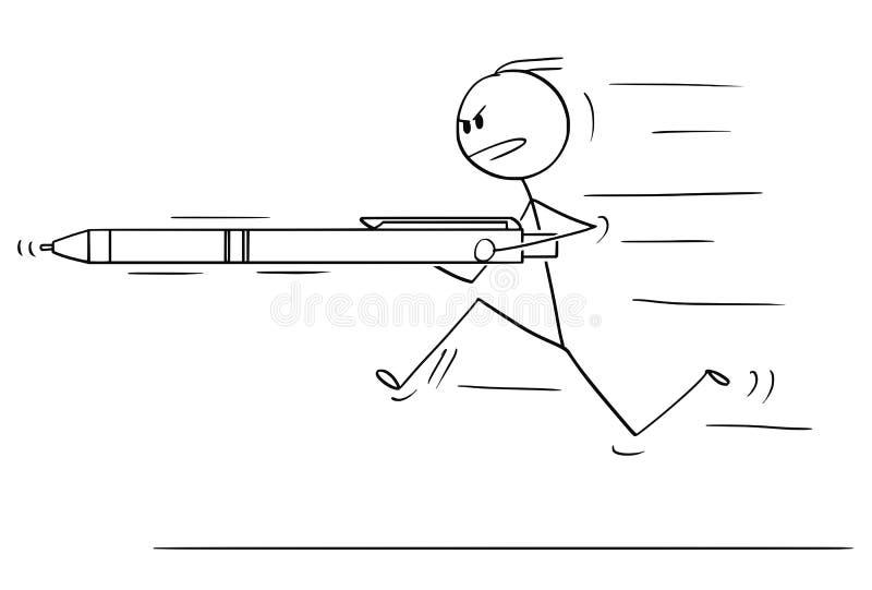 Мультфильм человека или бизнесмена бежать, поручая или атакуя с ручкой как копье иллюстрация штока