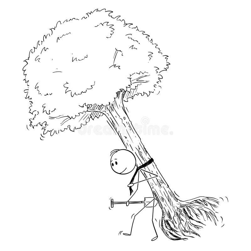 Мультфильм человека нося большое дерево для того чтобы засадить концепцию его, экологических и экологичности иллюстрация штока