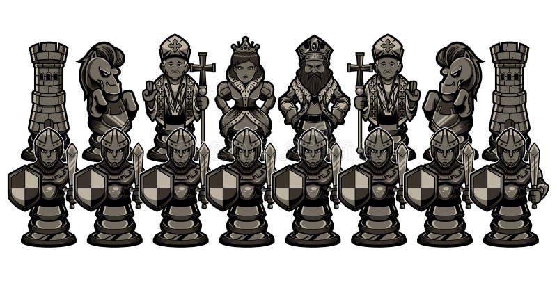 Мультфильм шахмат вычисляет черное иллюстрация штока