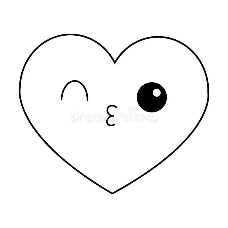 Мультфильм kawaii сердца flirting в черно-белом иллюстрация штока