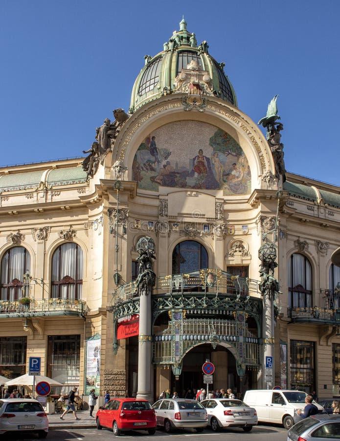 Муниципальный дом, на Namesti Republiky, Прага, чехия стоковые фотографии rf