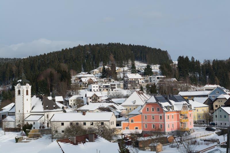 Муниципалитет Vorderweissenbach в зиме стоковые изображения