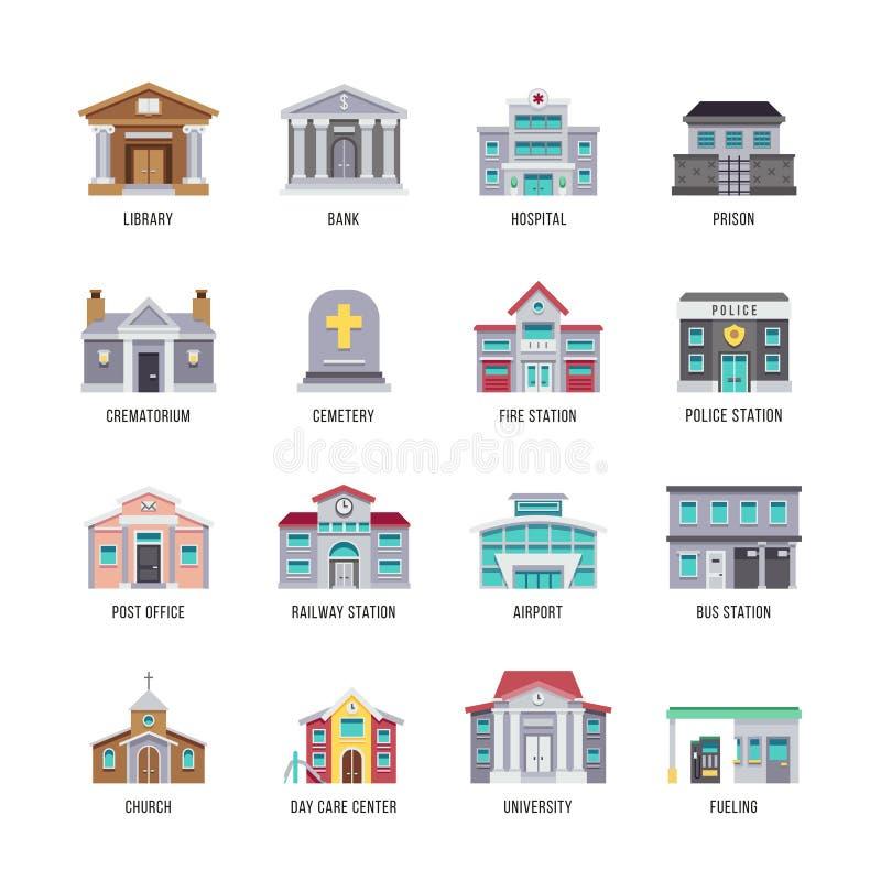 Муниципальные здания библиотека города, банк, больница, комплект значка вектора тюрьмы иллюстрация вектора