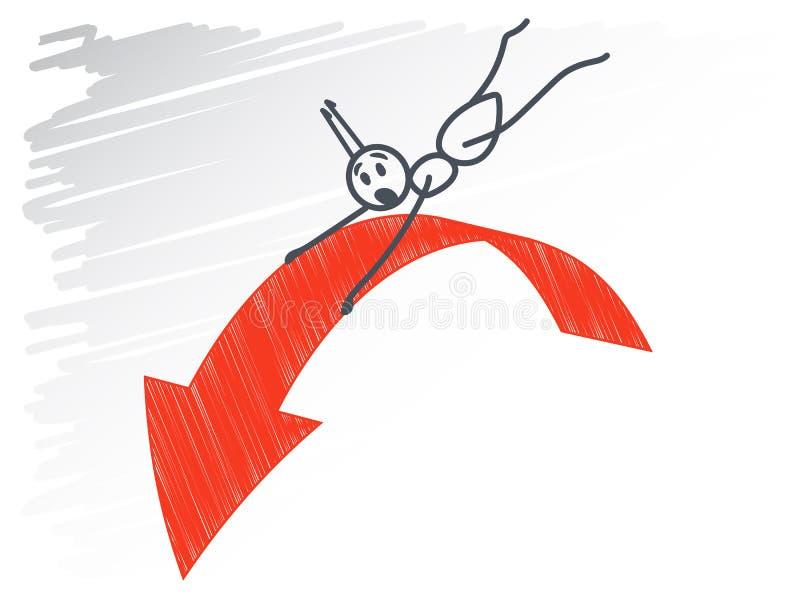 Муравей и красная стрелка иллюстрация вектора