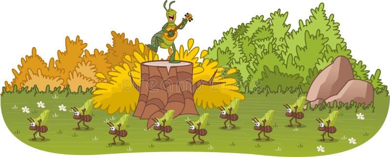 Муравей и кузнечик характеры сказки иллюстрация штока
