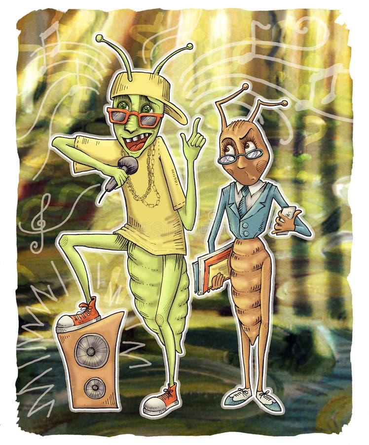 Муравей и кузнечик иллюстрация штока