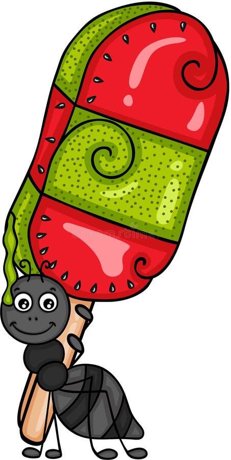 Муравей нося popsicle плодоовощ кивиа и арбуза иллюстрация вектора