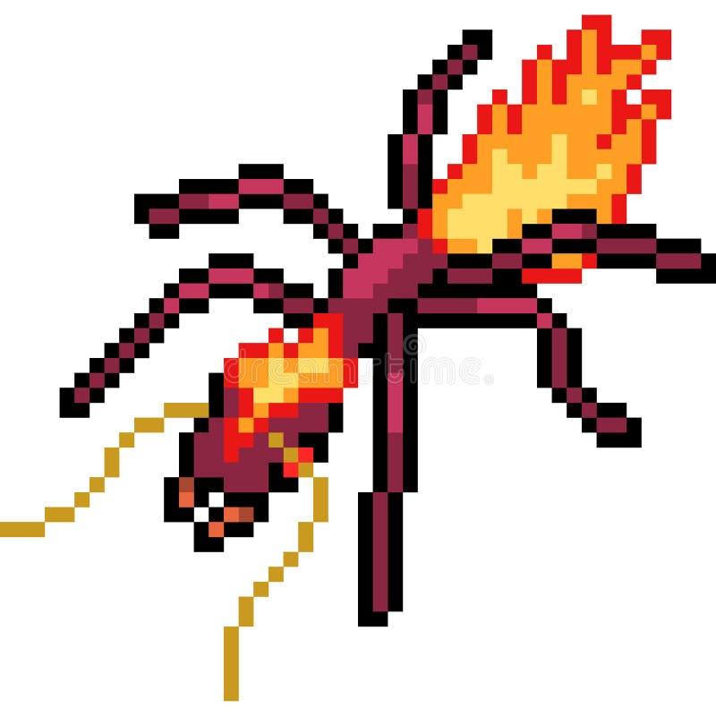 Муравей огня искусства пиксела вектора иллюстрация вектора