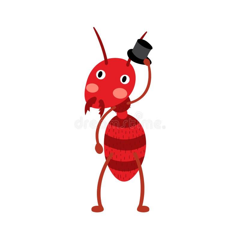 Муравей огня с персонажем из мультфильма черной шляпы бесплатная иллюстрация