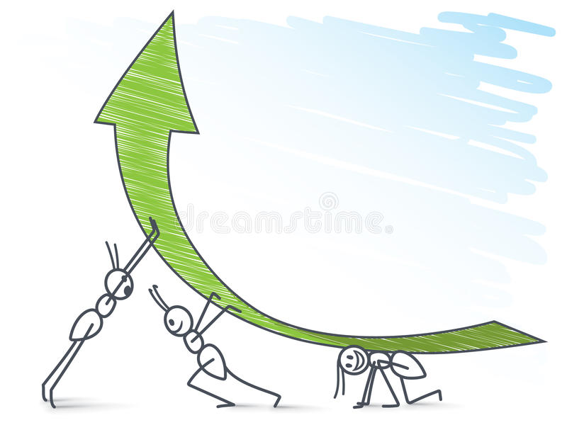 Муравьи и зеленая стрелка иллюстрация штока