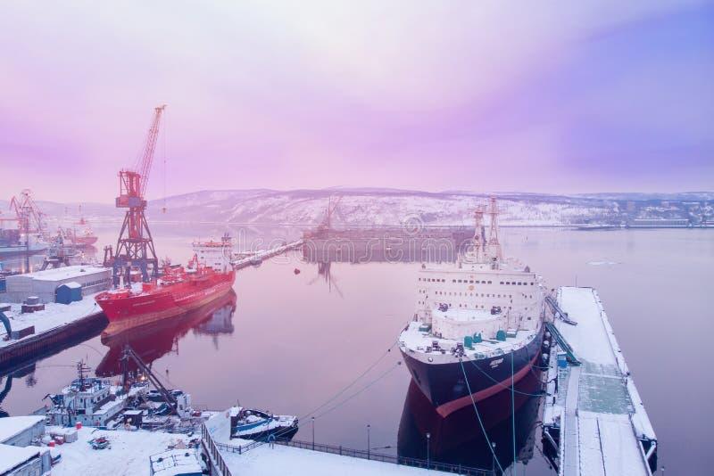 МУРМАНСК, РОССИЯ 2-ое февраля 2019: Ленин советский ядерная ледокол Запущенный в 1957, оно было обоими мир стоковая фотография