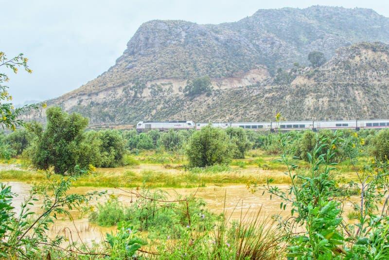 Мурсия, Испания, 20-ое апреля 2019: Современный поезд пропуская через зеленый ландшафт страны на туманный дождливый день стоковые изображения rf