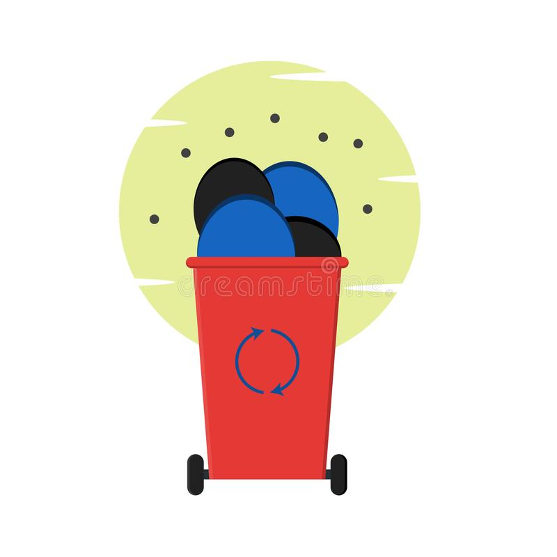 Мусорная корзина погани для отброса полного пластиковой погани иллюстрация штока