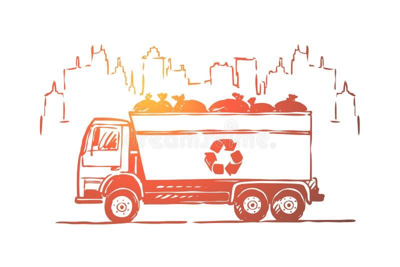 Мусоровоз, грузовик, автомобиль с сумками сора, нул отходов, консервация экологичности, предотвращение загрязнения иллюстрация вектора