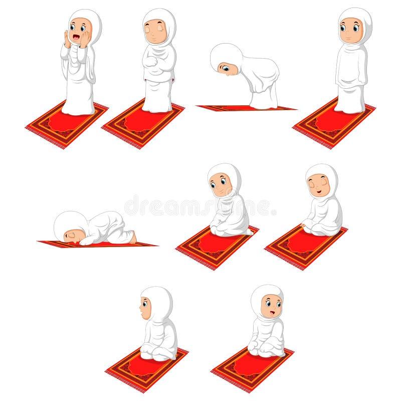 Мусульманская девушка Sholat молит движение иллюстрация штока