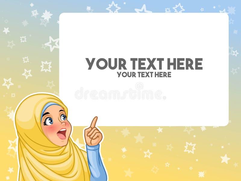 Мусульманская женщина возбудила указывать палец вверх на пустое copyspace иллюстрация вектора