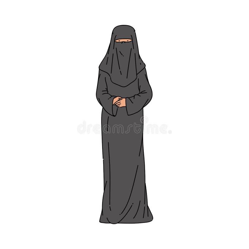 Мусульманская женщина в черной иллюстрации вектора платья и hijab или burqa изолировала иллюстрация штока