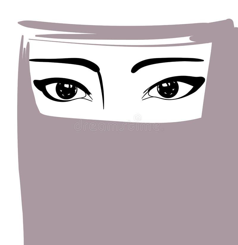 Мусульманская женщина в niqab, аравийском портрете девушки, иллюстрации вектора иллюстрация вектора