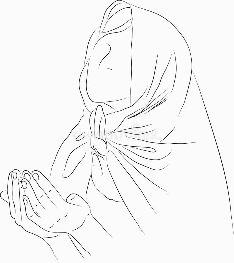 Мусульманская женщина моля в белом backgound иллюстрация штока