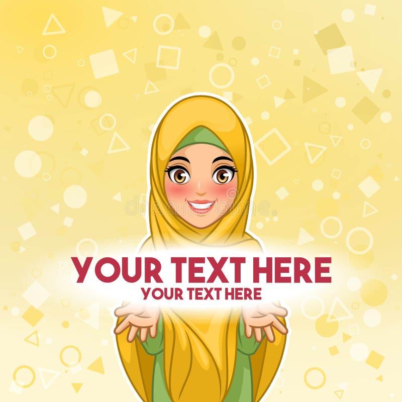 Мусульманская женщина представляя иллюстрацию вектора космоса текста бесплатная иллюстрация