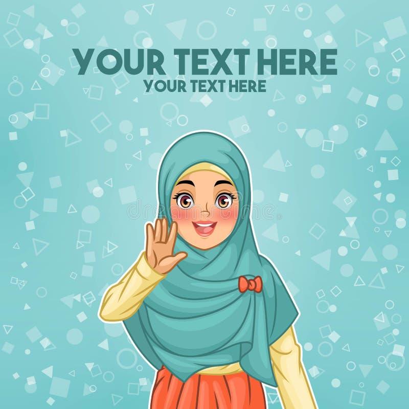 Мусульманская женщина развевая с ее ладонью бесплатная иллюстрация
