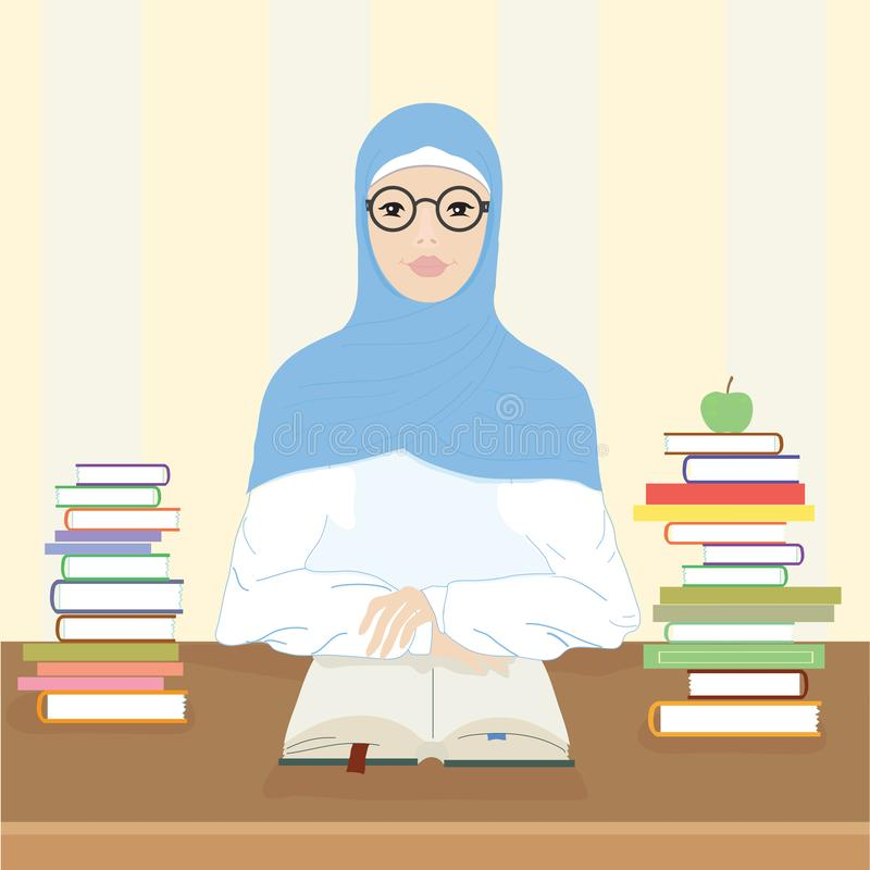 Мусульманская женщина сидит на таблице и читает книгу иллюстрация штока