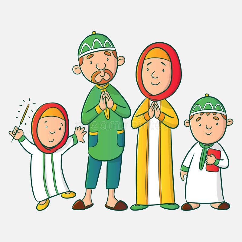 Мусульманская семья мультфильма иллюстрация вектора