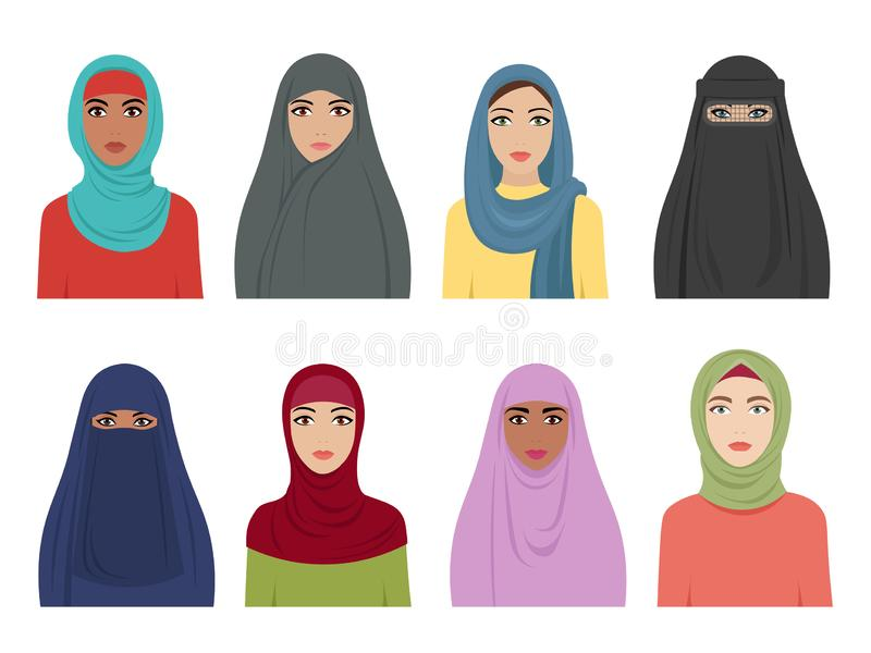 Мусульманские воплощения девушек Исламская мода для hidjab головного платка женщин иранское турецкого и арабского в различных тип иллюстрация штока