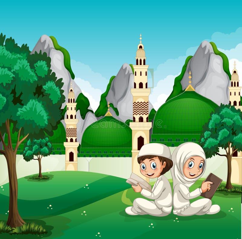 Мусульманские дети читая перед красивой мечетью бесплатная иллюстрация