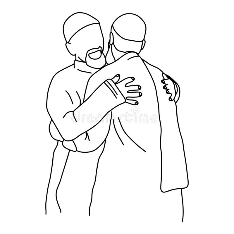 Мусульманские люди обнимая руку doodle эскиза иллюстрации вектора одина другого нарисованную с черными линиями изолированными на  иллюстрация вектора