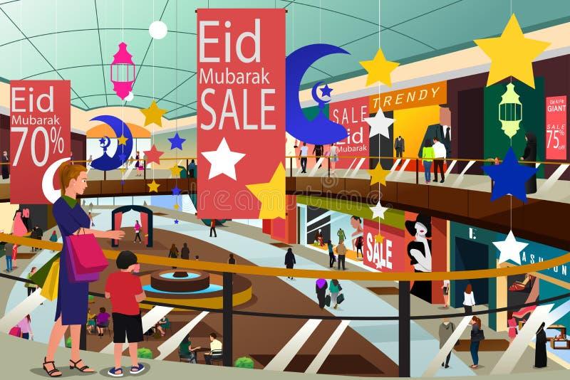 Мусульманские люди ходя по магазинам во время продажи Illustrat Eid-Al-Fitr Рамазана иллюстрация штока