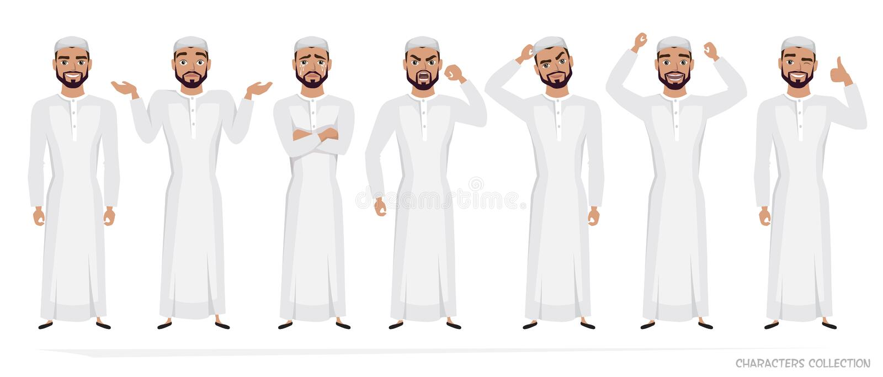 Мусульманский арабский набор символов человека эмоций иллюстрация вектора