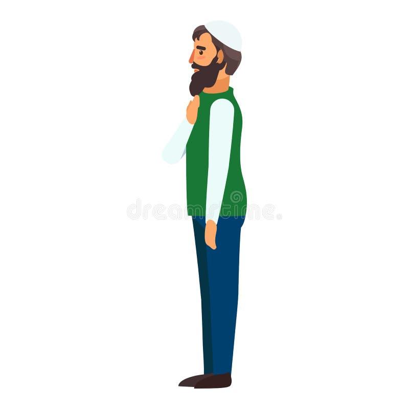 Мусульманский значок человека, плоский стиль иллюстрация штока
