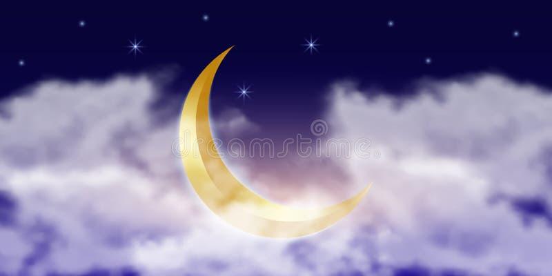 Мусульманский золотой полумесяц в облаках со звездами r r бесплатная иллюстрация