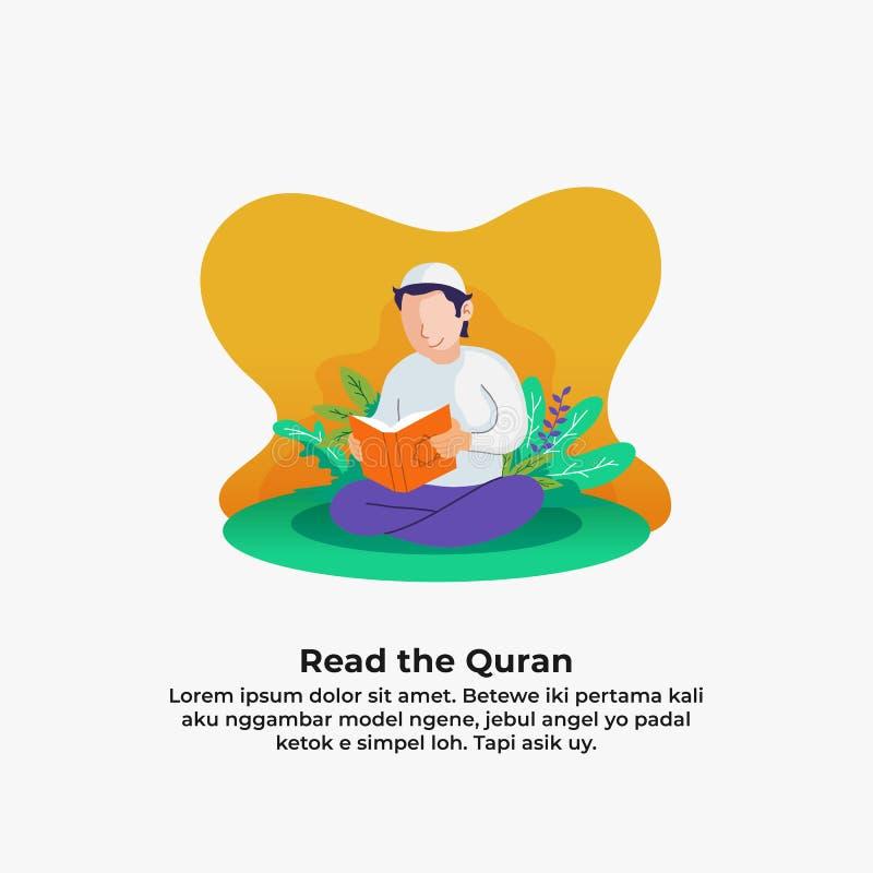 Мусульманский Коран чтения человека святая книга ислама с предпосылкой природы лист и цветка иллюстрация вектора деятельности при бесплатная иллюстрация