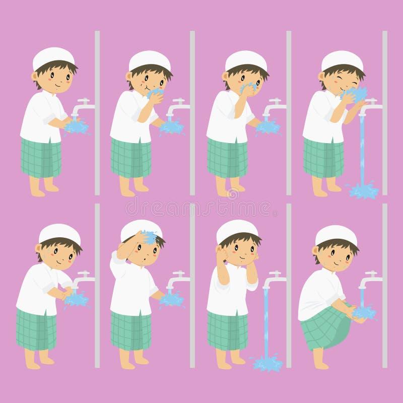 Мусульманский мальчик выполняет собрание вектора шагов омовения иллюстрация вектора