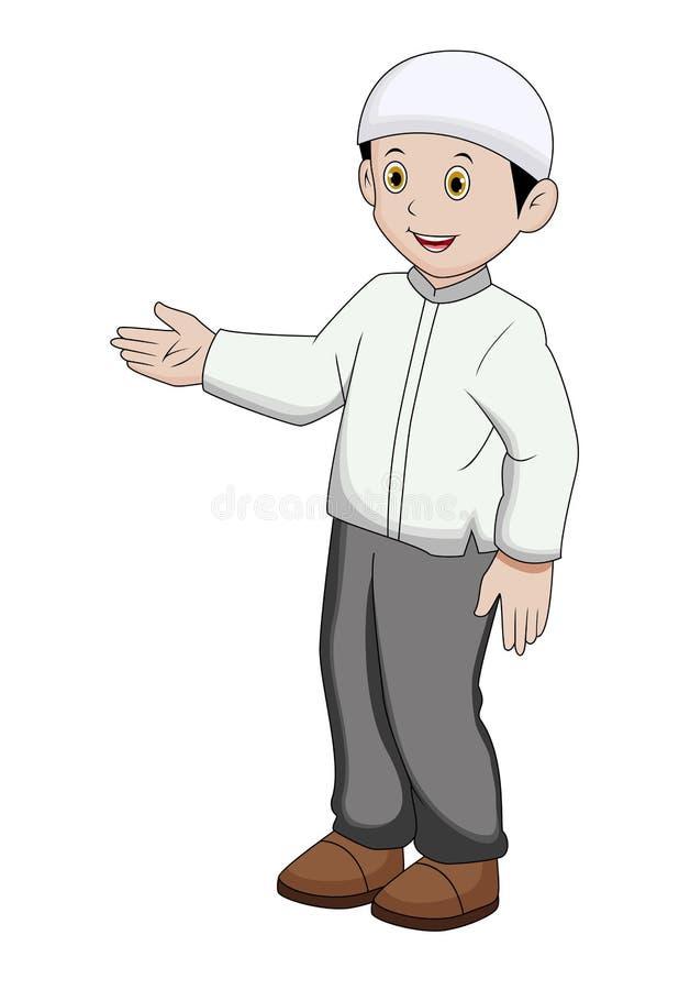 Мусульманский мальчик развевая его правая рука на белой предпосылке иллюстрация штока