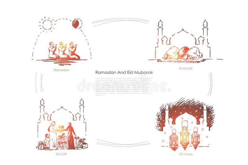 Мусульманский традиционный праздник, исламское событие культуры, люди моля на мечети, арабском религиозном шаблоне знамени торжес бесплатная иллюстрация