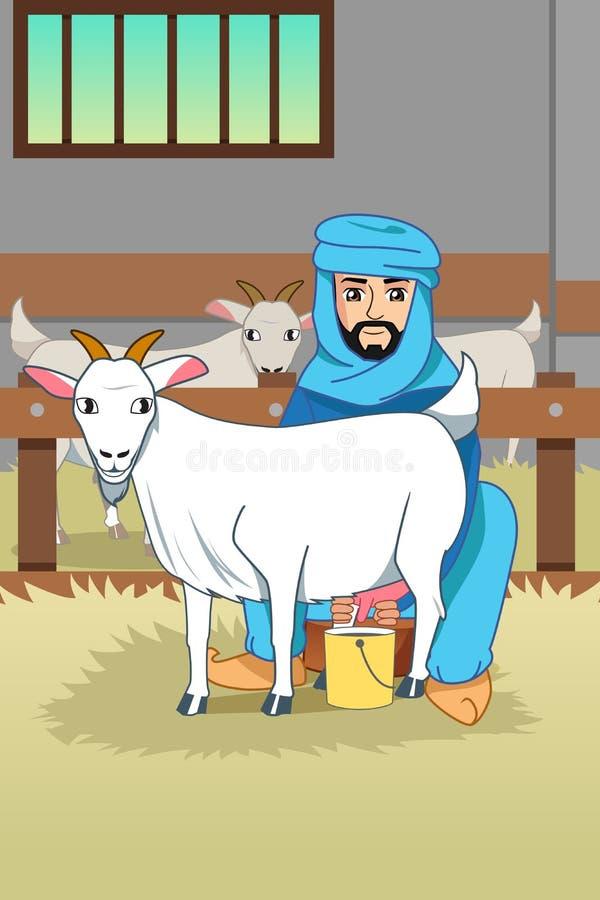 Мусульманский фермер доя его коз на иллюстрации амбара бесплатная иллюстрация