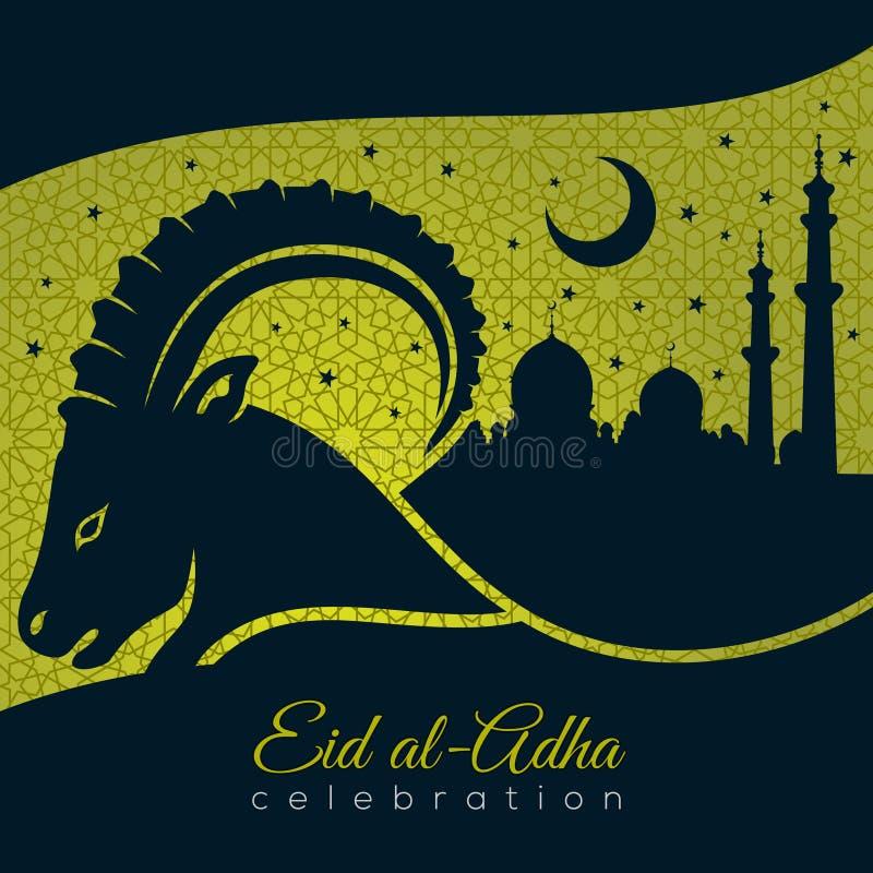 Мусульманский фестиваль поздравительной открытки Eid-Al-Adha поддачи с овцами и мечетью иллюстрация штока