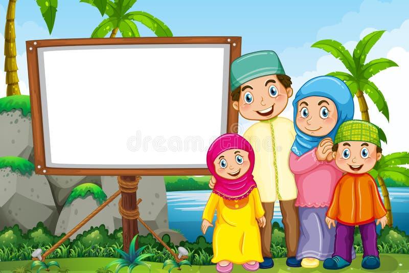 Мусульманская семья в парке бесплатная иллюстрация