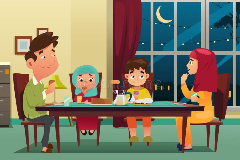 Мусульманская семья есть обедающий дома бесплатная иллюстрация