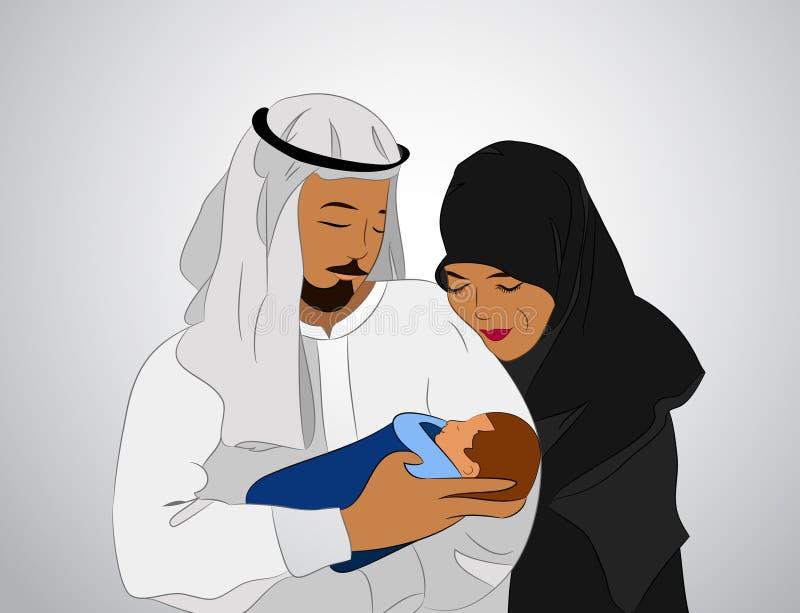 Мусульманская семья с ребенком бесплатная иллюстрация