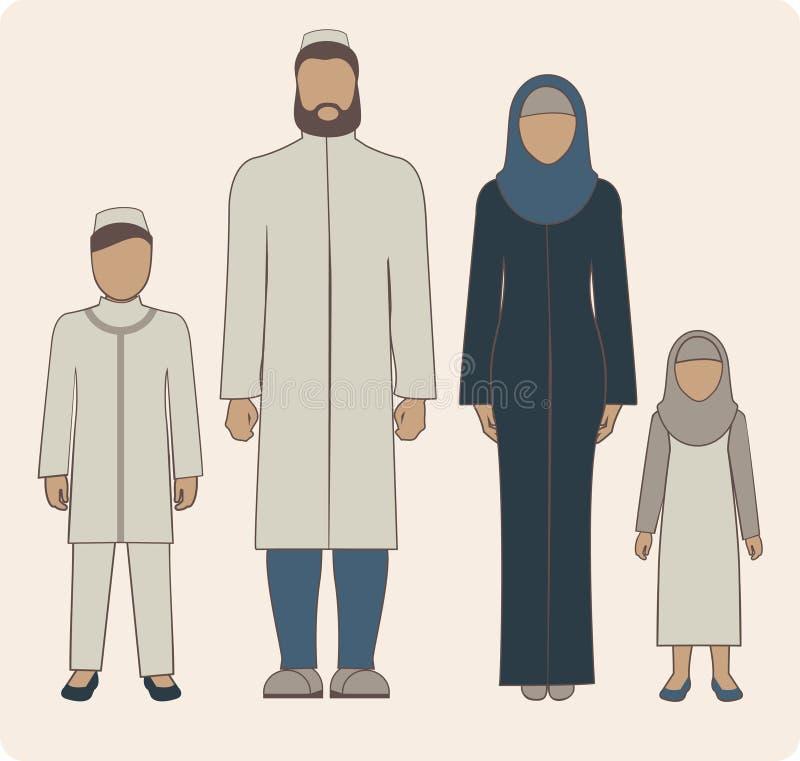 Мусульманская семья иллюстрация штока