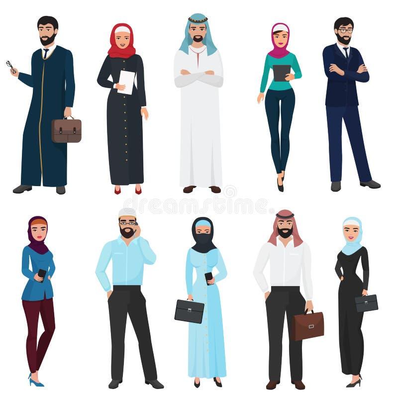 Мусульманские арабские бизнесмены Арабский мужчина офиса и женский комплект иллюстрации вектора иллюстрация штока