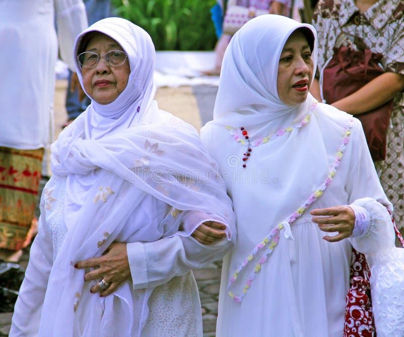 Мусульманские люди на Idul Fitri, Индонезии стоковые изображения rf