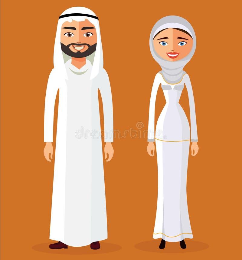 Мусульманский арабский человек и женщина в без сокращений традиционной одежде Плоская иллюстрация вектора бесплатная иллюстрация
