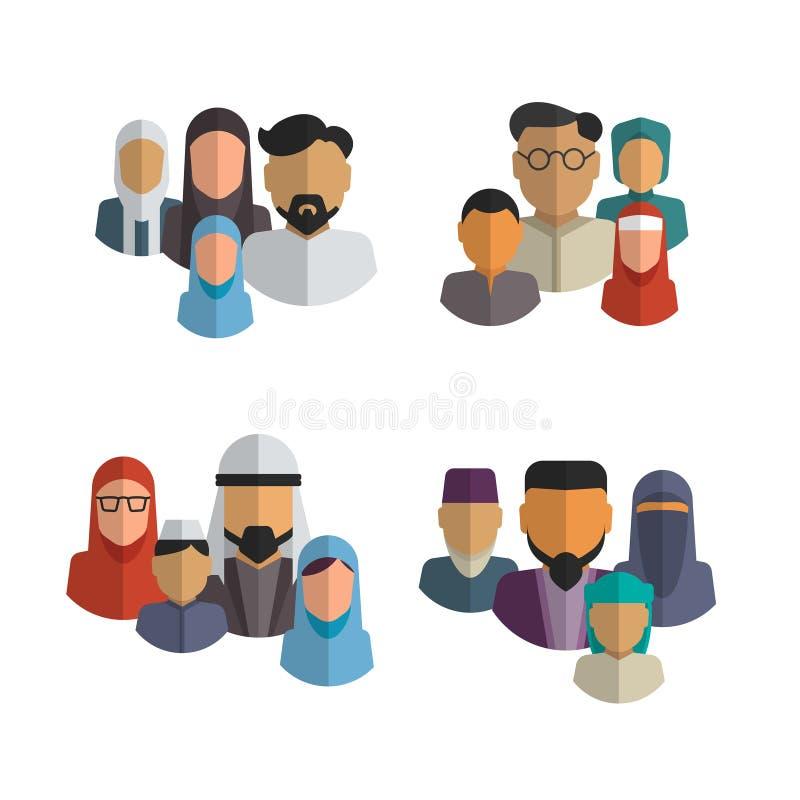 Мусульманский комплект вектора значков семьи Ближневосточный иллюстрация штока