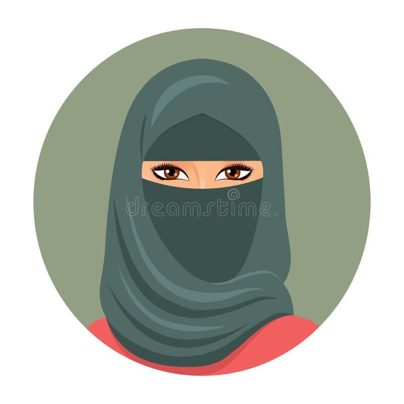 Мусульманское воплощение девушки Портрет молодой мусульманской женщины в hijab также вектор иллюстрации притяжки corel иллюстрация штока