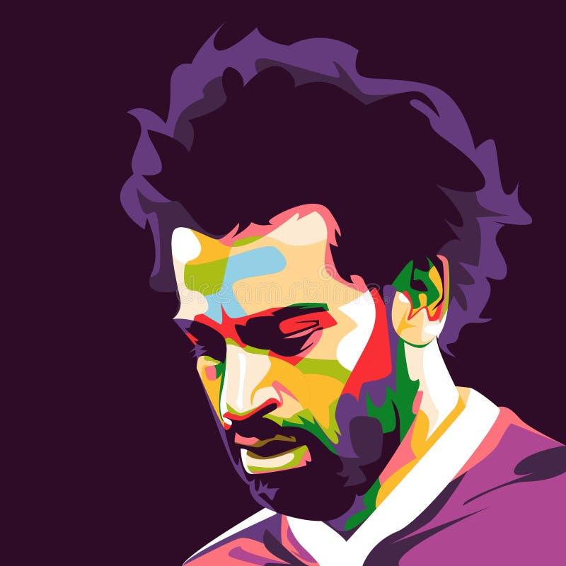 Мухаммед Salah в иллюстрации искусства попа иллюстрация штока